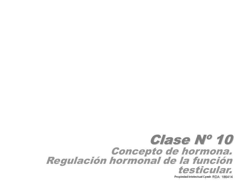 Clase Nº 10 Concepto de hormona. Regulación hormonal de la función testicular. Propiedad Intelectual Cpech