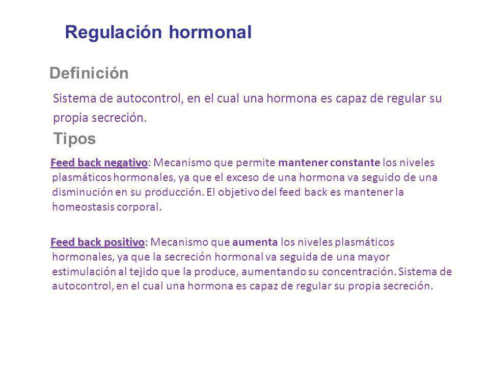 Regulación hormonal Definición Sistema de autocontrol, en el cual una hormona es capaz de regular su propia secreción. Tipos Feed back negativo: Feed