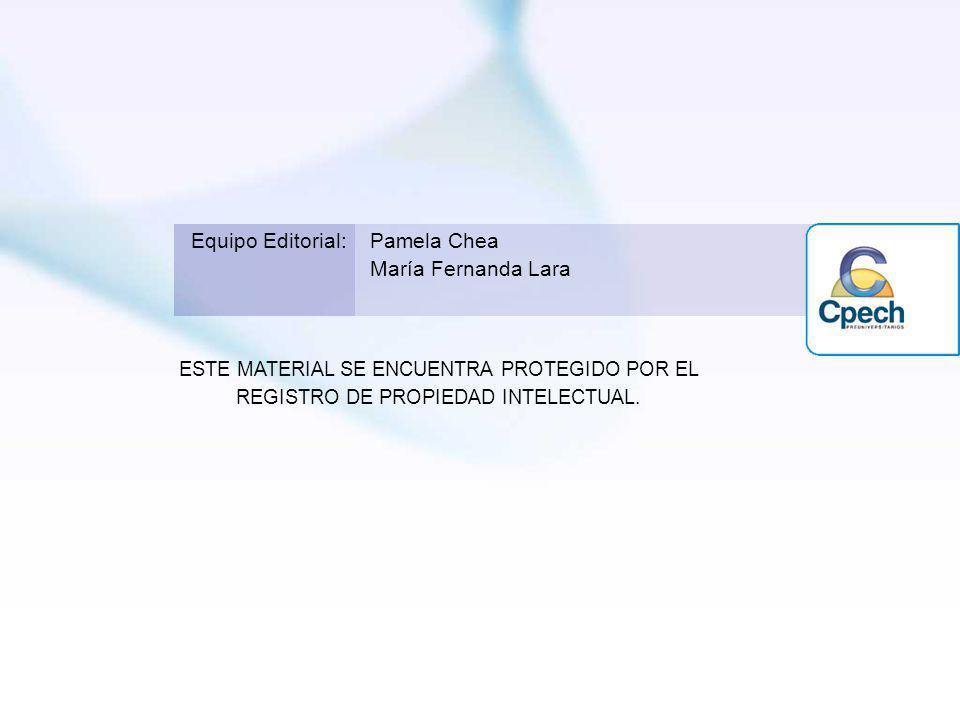 ESTE MATERIAL SE ENCUENTRA PROTEGIDO POR EL REGISTRO DE PROPIEDAD INTELECTUAL. Equipo Editorial:Pamela Chea María Fernanda Lara