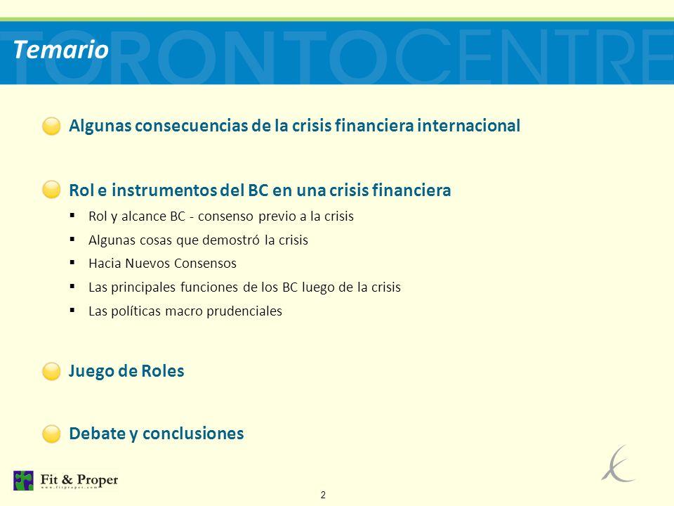 23 Las principales funciones de los BC luego de la crisis Diseño e instrumentación de la Política Monetaria Diseño e instrumentación de: - PUI (prestamista última instancia) - OMA (operaciones de mercado abierto) Operación de sistemas de pago Estabilidad Financiera global/regulaciones macroprudenciales Involucramiento en los casos de resolución bancaria sistémica Asistencia de Liquidez en situaciones extraordinarias ROL E INSTRUMENTOS DEL BC EN UNA CRISIS FINANCIERA
