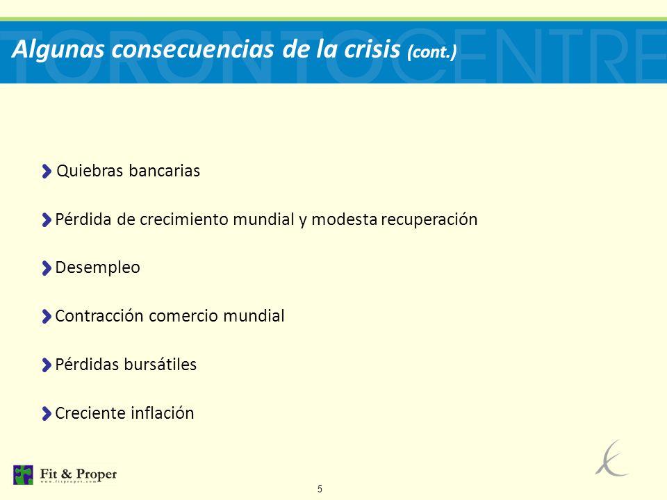 6 Algunas consecuencias de la crisis (cont.) Quiebras bancarias Instituciones Cerradas Instituciones en problemas Fuente: FDIC Patrimonio FDIC Esta información parece indicar que - en términos de cierre de bancos - ya ha pasado el mayor impacto de la crisis 2008-09