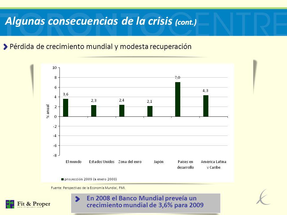 8 Algunas consecuencias de la crisis (cont.) Pérdida de crecimiento mundial y modesta recuperación Fuente: Perspectivas de la Economía Mundial, FMI.