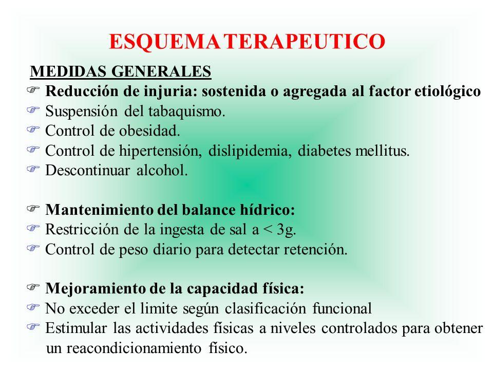 ESQUEMA TERAPEUTICO MEDIDAS GENERALES F Reducción de injuria: sostenida o agregada al factor etiológico F Suspensión del tabaquismo. F Control de obes