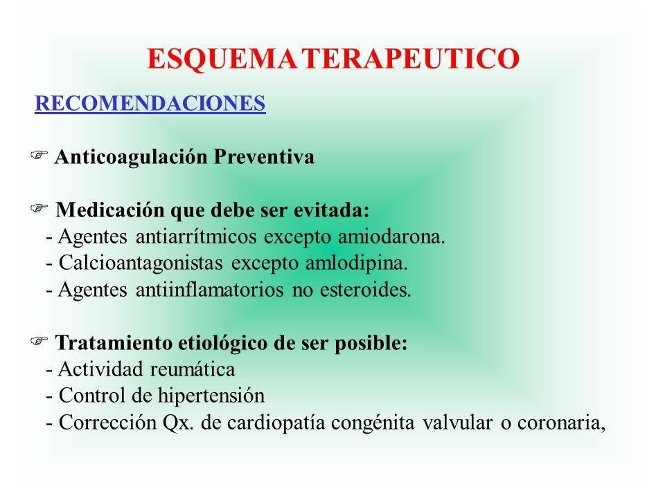 ESQUEMA TERAPEUTICO RECOMENDACIONES F Anticoagulación Preventiva F Medicación que debe ser evitada: - Agentes antiarrítmicos excepto amiodarona. - Cal