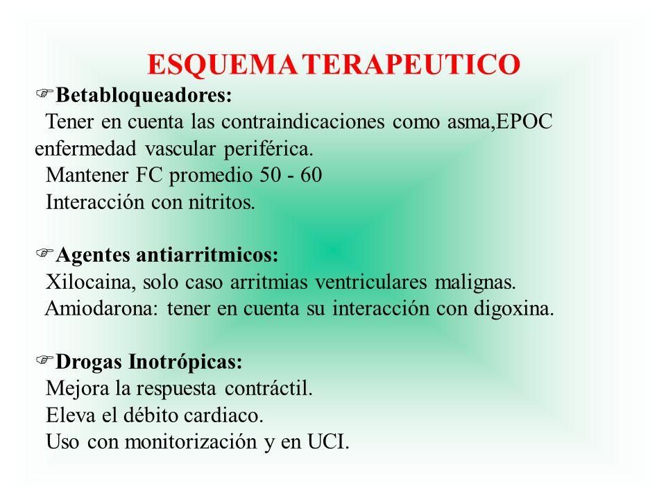 ESQUEMA TERAPEUTICO FBetabloqueadores: Tener en cuenta las contraindicaciones como asma,EPOC enfermedad vascular periférica. Mantener FC promedio 50 -