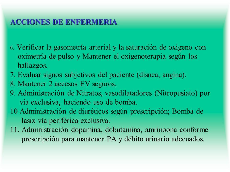 ACCIONES DE ENFERMERIA ACCIONES DE ENFERMERIA 6. Verificar la gasometría arterial y la saturación de oxigeno con oximetría de pulso y Mantener el oxig