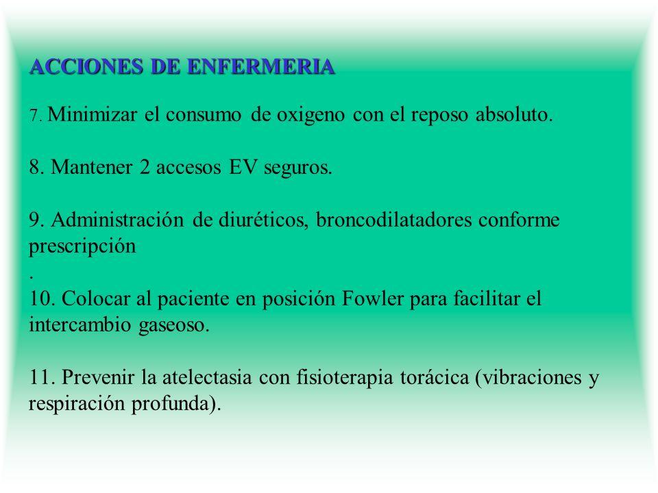 ACCIONES DE ENFERMERIA ACCIONES DE ENFERMERIA 7. Minimizar el consumo de oxigeno con el reposo absoluto. 8. Mantener 2 accesos EV seguros. 9. Administ