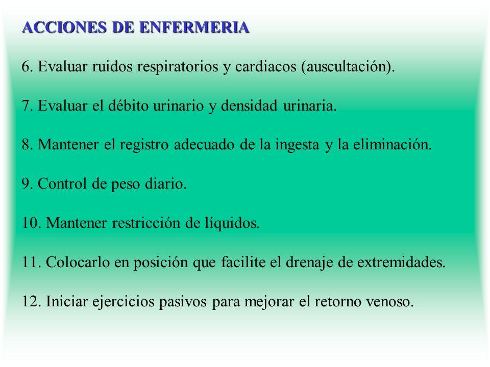 ACCIONES DE ENFERMERIA ACCIONES DE ENFERMERIA 6. Evaluar ruidos respiratorios y cardiacos (auscultación). 7. Evaluar el débito urinario y densidad uri
