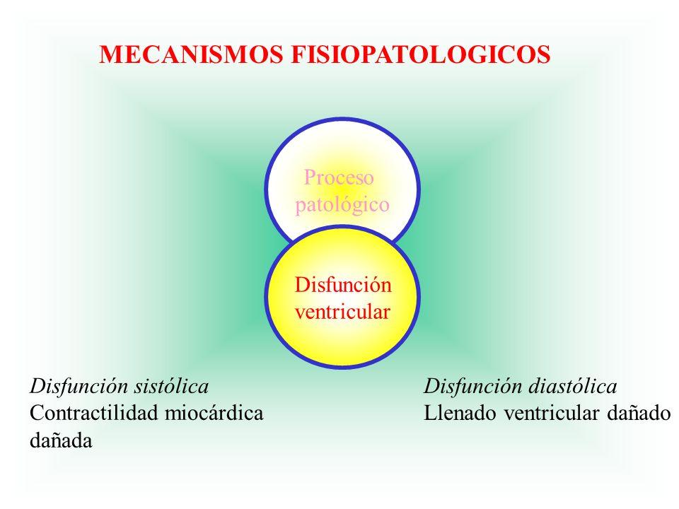 Proceso patológico Disfunción ventricular Disfunción sistólica Contractilidad miocárdica dañada Disfunción diastólica Llenado ventricular dañado MECAN