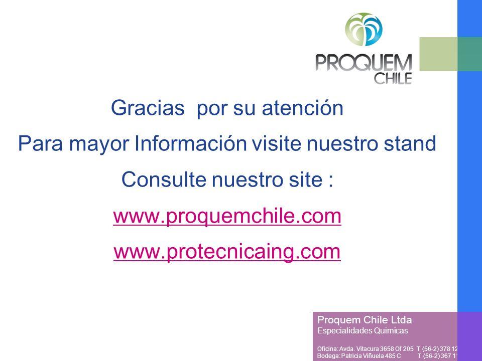Proquem Chile Ltda Especialidades Quimicas Oficina: Avda. Vitacura 3658 Of 205 T (56-2) 378 1257 Bodega: Patricia Viñuela 485 C T (56-2) 367 1128 Grac