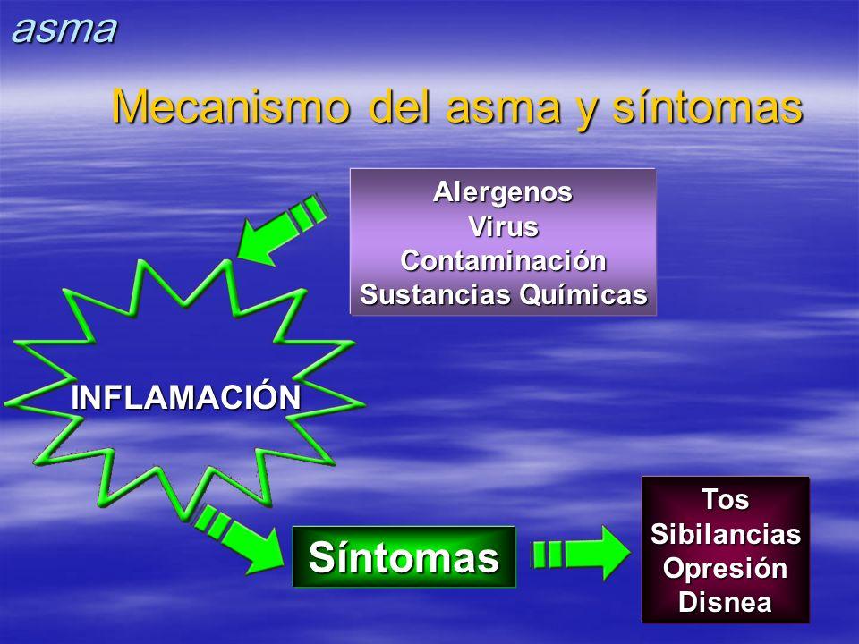 Síntomas AlergenosVirusContaminación Sustancias Químicas TosSibilanciasOpresiónDisnea INFLAMACIÓN Mecanismo del asma y síntomas asma