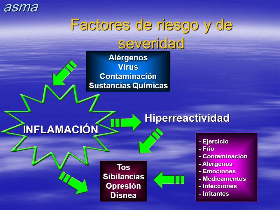 - Ejercicio - Frío - Contaminación - Alergenos - Emociones - Medicamentos - Infecciones - Irritantes INFLAMACIÓN AlérgenosVirusContaminación Sustancia