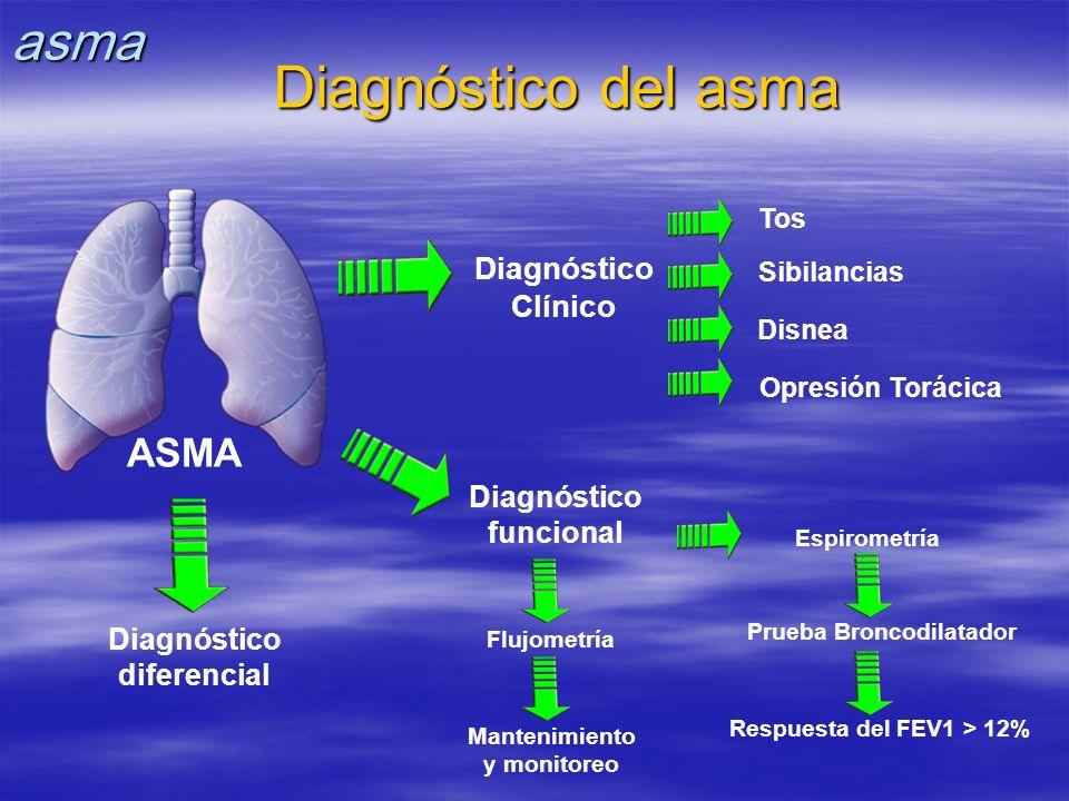 ASMA Flujometría Mantenimiento y monitoreo Espirometría Prueba Broncodilatador Respuesta del FEV1 > 12% Tos Sibilancias Disnea Opresión Torácica Diagn