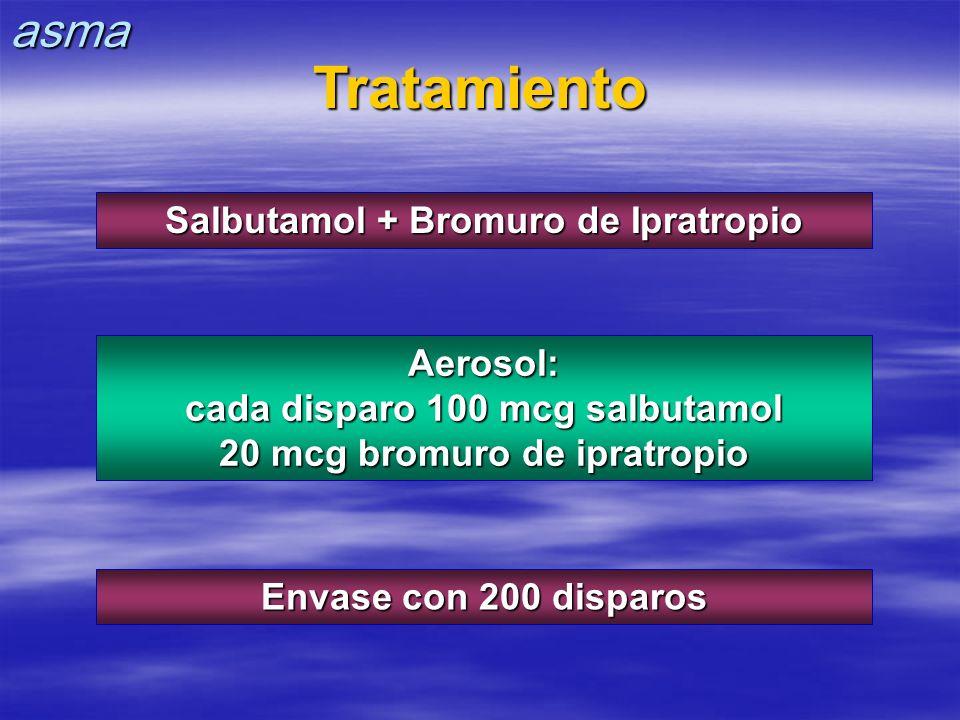Tratamiento Salbutamol + Bromuro de Ipratropio Aerosol: cada disparo 100 mcg salbutamol 20 mcg bromuro de ipratropio Envase con 200 disparos asma