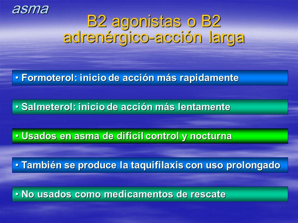 Usados en asma de difícil control y nocturna Usados en asma de difícil control y nocturna También se produce la taquifilaxis con uso prolongado Tambié