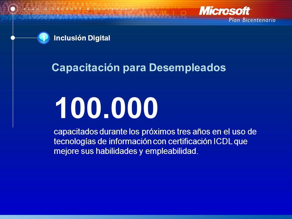 Inclusión Digital 100.000 capacitados durante los próximos tres años en el uso de tecnologías de información con certificación ICDL que mejore sus habilidades y empleabilidad.