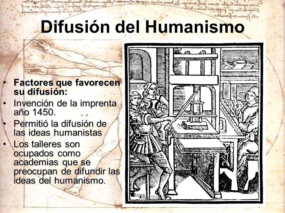 Difusión del Humanismo Factores que favorecen su difusión:Factores que favorecen su difusión: Invención de la imprenta año 1450.Invención de la impren