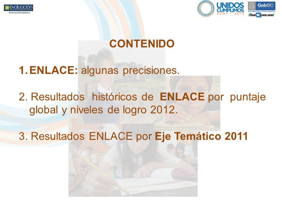 CONTENIDO 1.ENLACE: algunas precisiones. 2. Resultados históricos de ENLACE por puntaje global y niveles de logro 2012. 3. Resultados ENLACE por Eje T