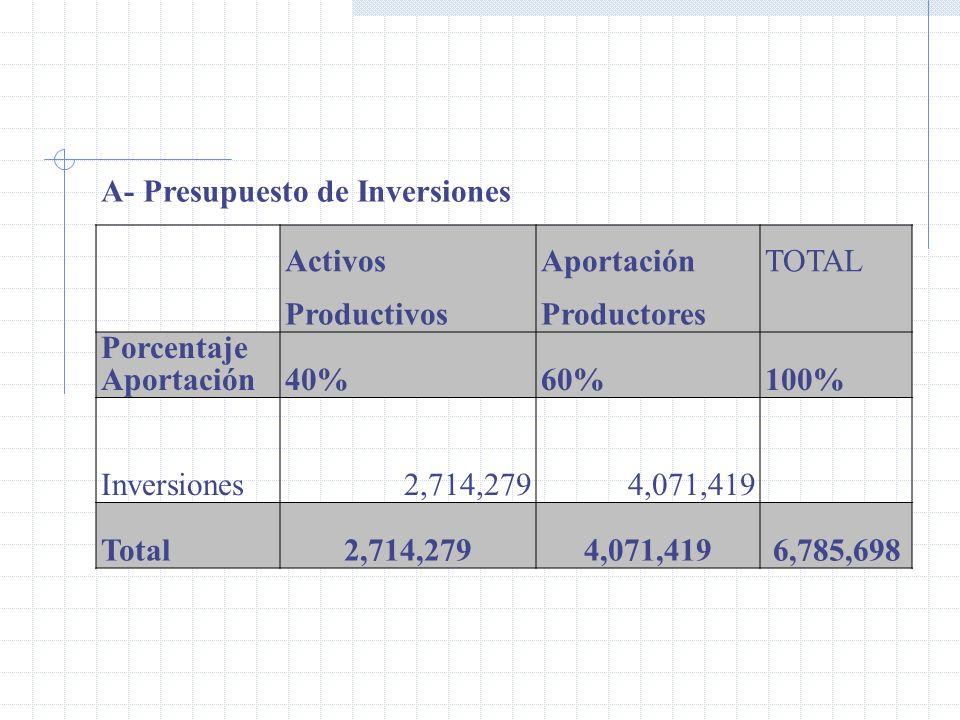 A- Presupuesto de Inversiones ActivosAportaciónTOTAL ProductivosProductores Porcentaje Aportación40%60%100% Inversiones 2,714,2794,071,419 Total2,714,