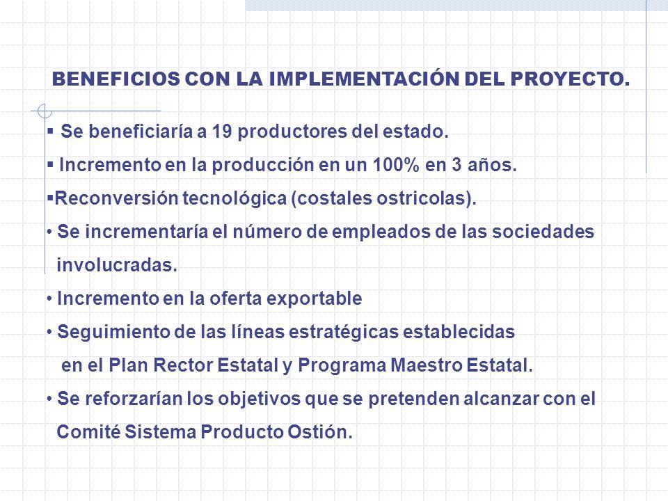 BENEFICIOS CON LA IMPLEMENTACIÓN DEL PROYECTO. Se beneficiaría a 19 productores del estado. Incremento en la producción en un 100% en 3 años. Reconver