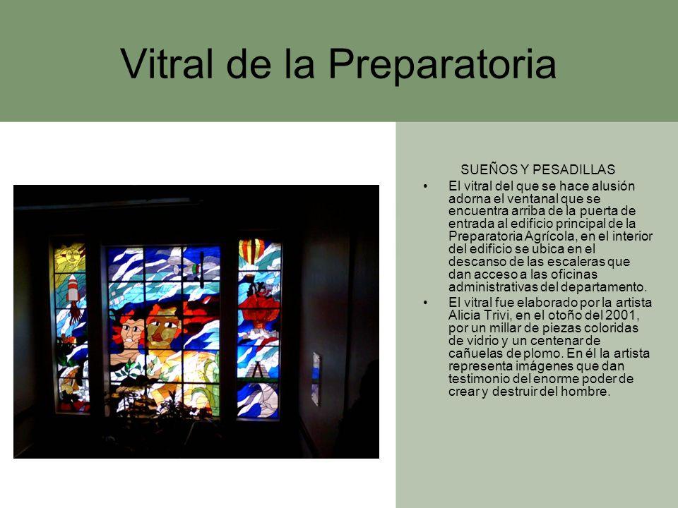 Vitral de la Preparatoria SUEÑOS Y PESADILLAS El vitral del que se hace alusión adorna el ventanal que se encuentra arriba de la puerta de entrada al