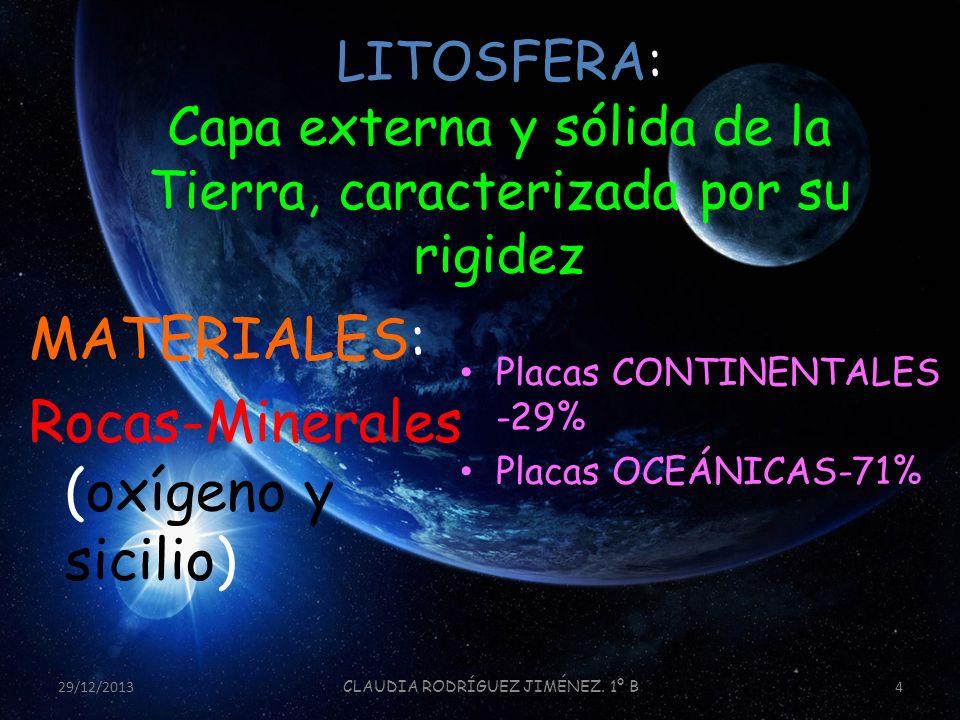 LITOSFERA: Capa externa y sólida de la Tierra, caracterizada por su rigidez MATERIALES: Rocas-Minerales (oxígeno y sicilio) Placas CONTINENTALES -29%