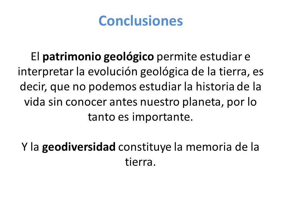 Conclusiones El patrimonio geológico permite estudiar e interpretar la evolución geológica de la tierra, es decir, que no podemos estudiar la historia