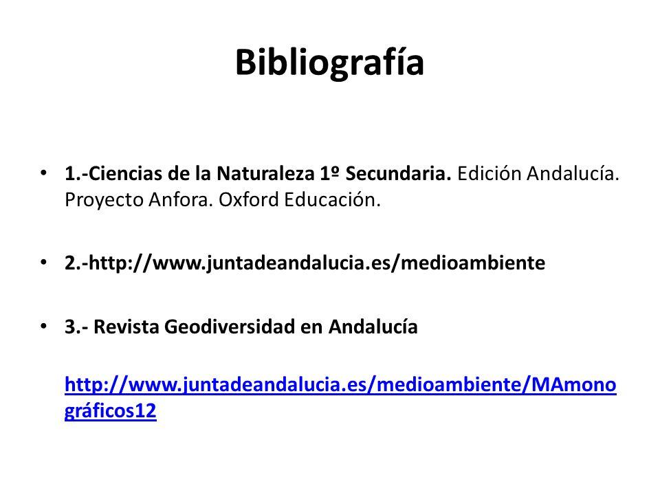 Bibliografía 1.-Ciencias de la Naturaleza 1º Secundaria. Edición Andalucía. Proyecto Anfora. Oxford Educación. 2.-http://www.juntadeandalucia.es/medio