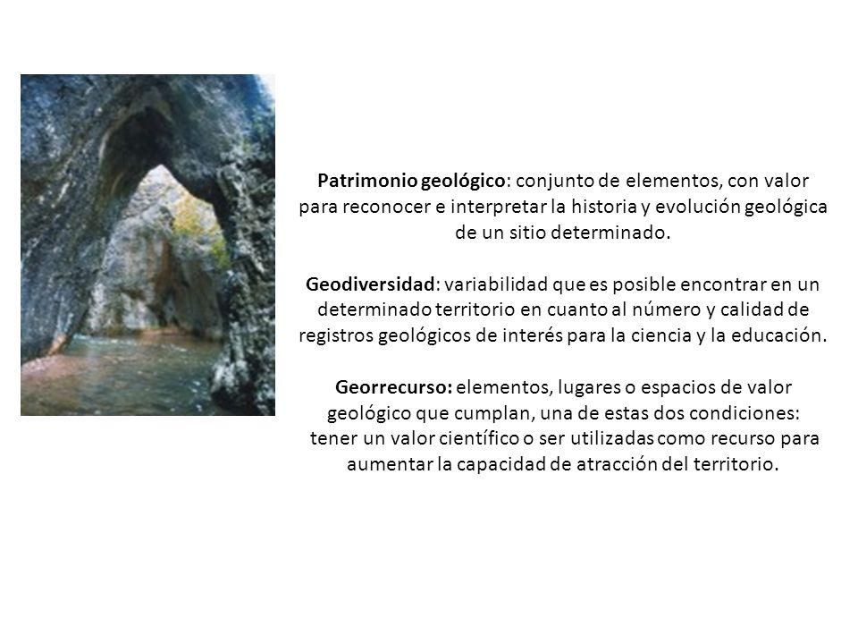 Patrimonio geológico: conjunto de elementos, con valor para reconocer e interpretar la historia y evolución geológica de un sitio determinado. Geodive