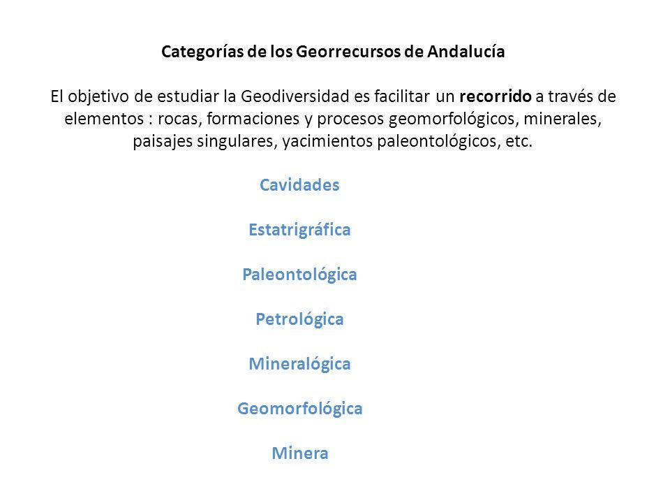 Categorías de los Georrecursos de Andalucía El objetivo de estudiar la Geodiversidad es facilitar un recorrido a través de elementos : rocas, formacio