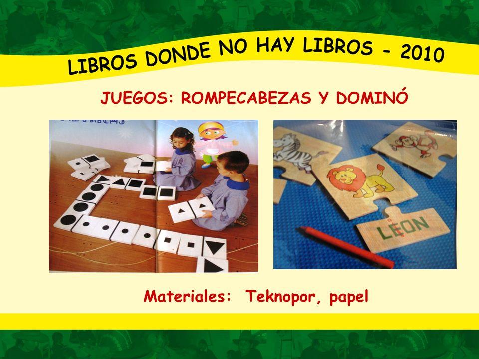JUEGOS : TARJETAS Y LÁMINAS Materiales: Papel, cartón