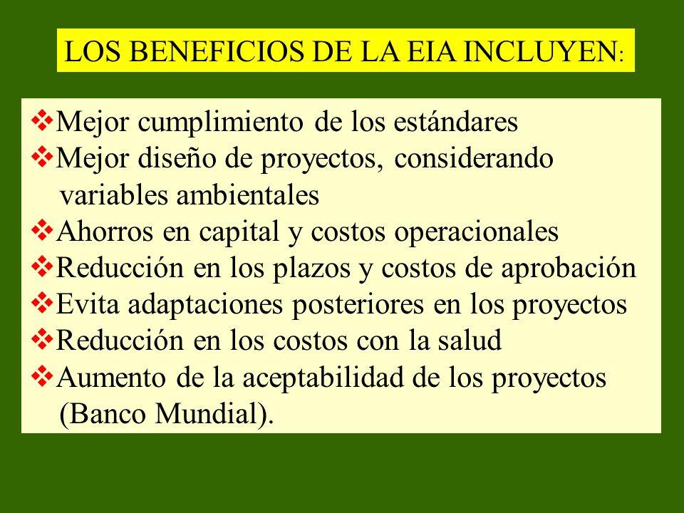 LOS BENEFICIOS DE LA EIA INCLUYEN : Mejor cumplimiento de los estándares Mejor diseño de proyectos, considerando variables ambientales Ahorros en capi