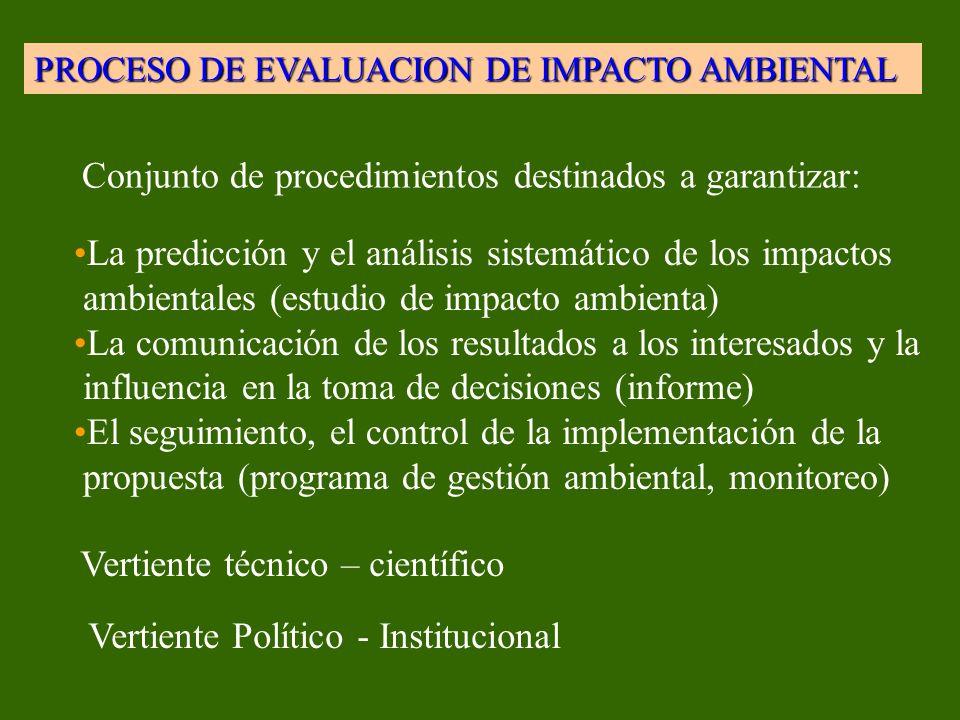 PROCESO DE EVALUACION DE IMPACTO AMBIENTAL Conjunto de procedimientos destinados a garantizar: La predicción y el análisis sistemático de los impactos