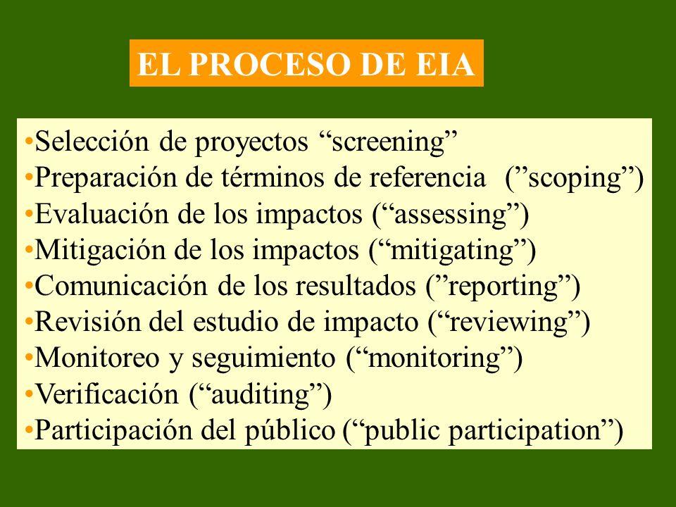 EL PROCESO DE EIA Selección de proyectos screening Preparación de términos de referencia (scoping) Evaluación de los impactos (assessing) Mitigación d