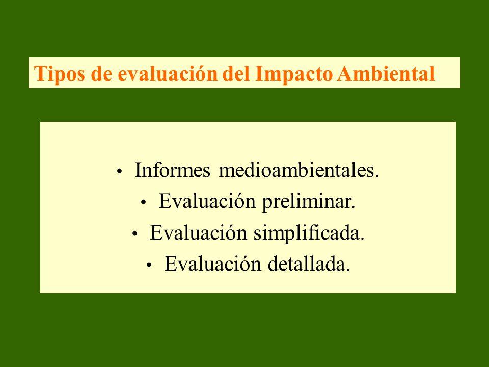 Tipos de evaluación del Impacto Ambiental Informes medioambientales. Evaluación preliminar. Evaluación simplificada. Evaluación detallada.