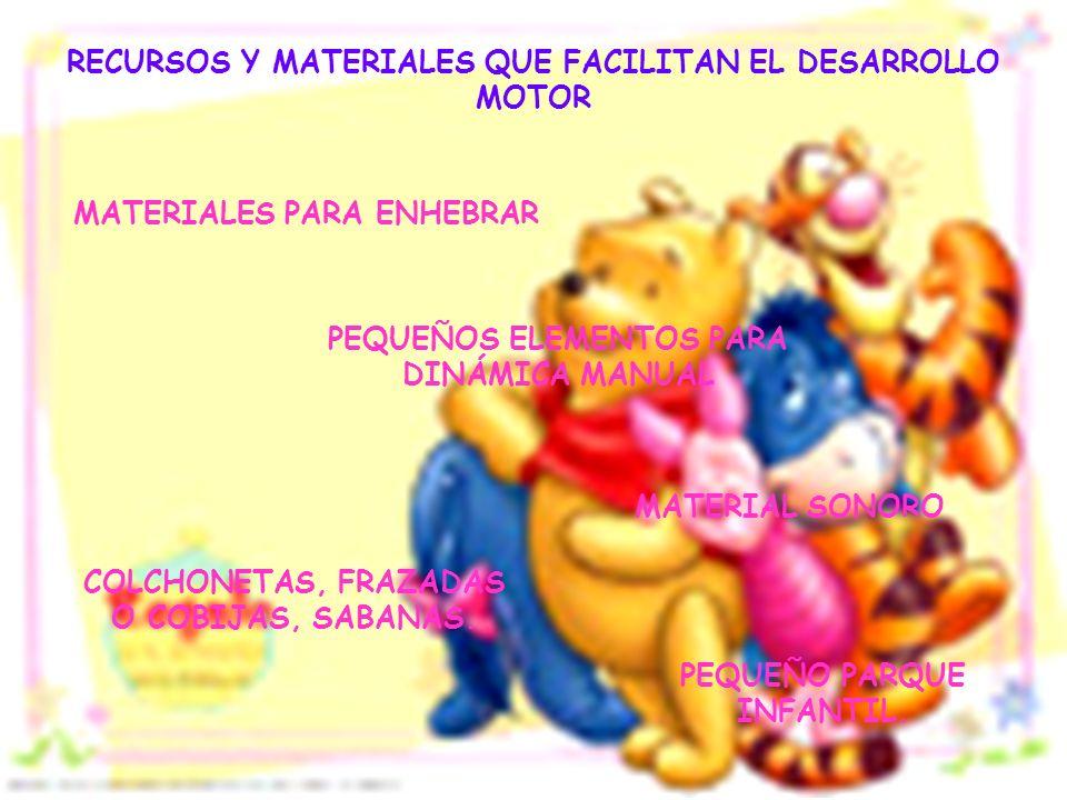 RECURSOS Y MATERIALES QUE FACILITAN EL DESARROLLO MOTOR MATERIALES PARA ENHEBRAR PEQUEÑOS ELEMENTOS PARA DINÁMICA MANUAL MATERIAL SONORO COLCHONETAS,