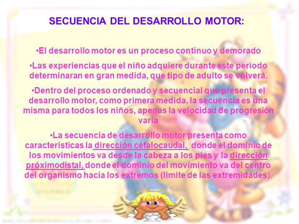 SECUENCIA DEL DESARROLLO MOTOR: El desarrollo motor es un proceso continuo y demorado Las experiencias que el niño adquiere durante este periodo deter