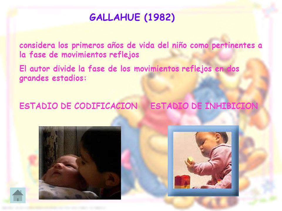 GALLAHUE (1982) considera los primeros años de vida del niño como pertinentes a la fase de movimientos reflejos El autor divide la fase de los movimie