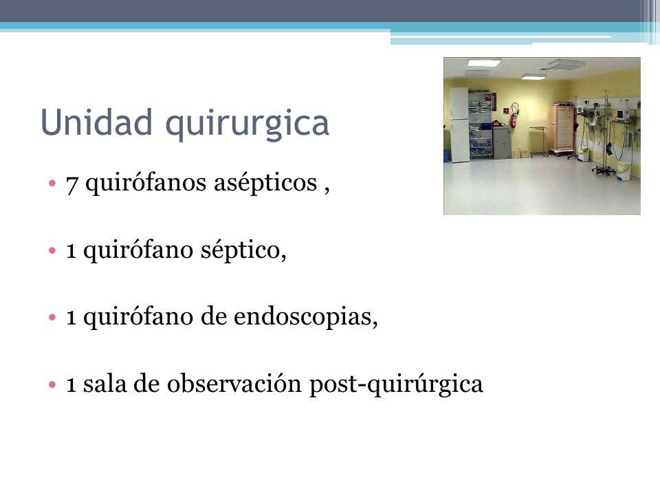 Unidad quirurgica 7 quirófanos asépticos, 1 quirófano séptico, 1 quirófano de endoscopias, 1 sala de observación post-quirúrgica
