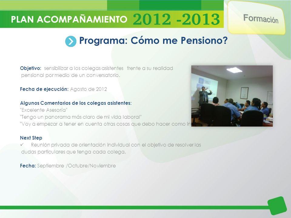 Programa: Cómo me Pensiono? Objetivo: sensibilizar a los colegas asistentes frente a su realidad pensional por medio de un conversatorio. Fecha de eje