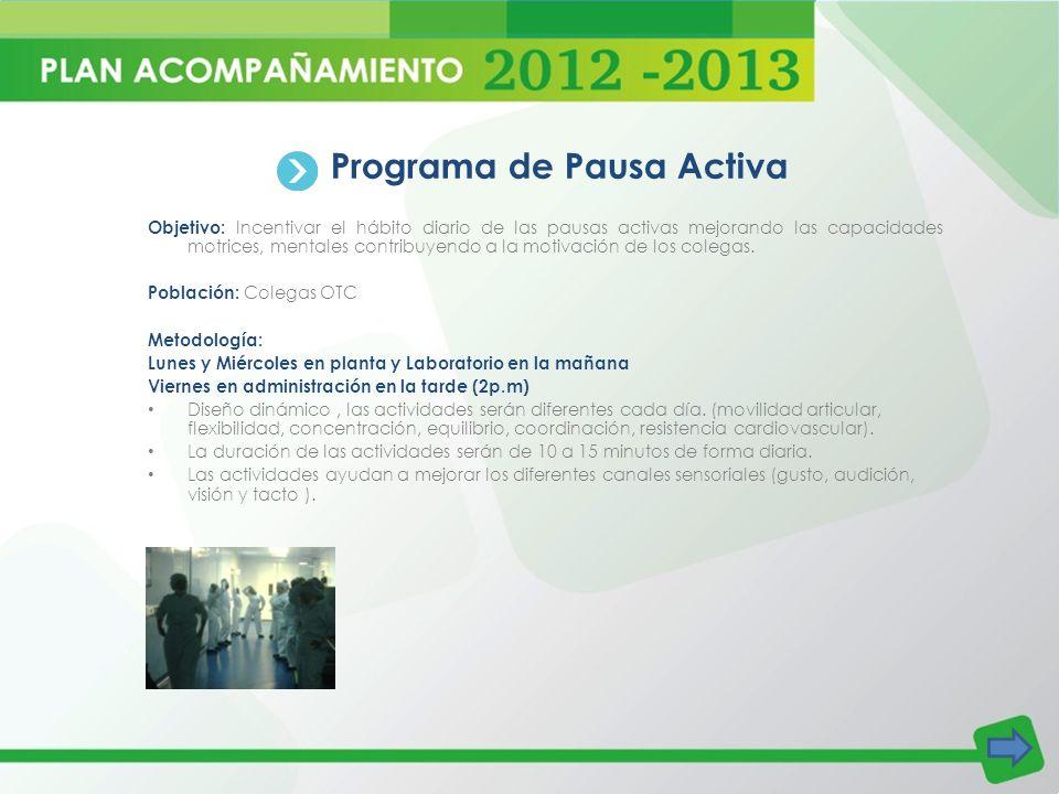 Programa de Pausa Activa Objetivo: Incentivar el hábito diario de las pausas activas mejorando las capacidades motrices, mentales contribuyendo a la m