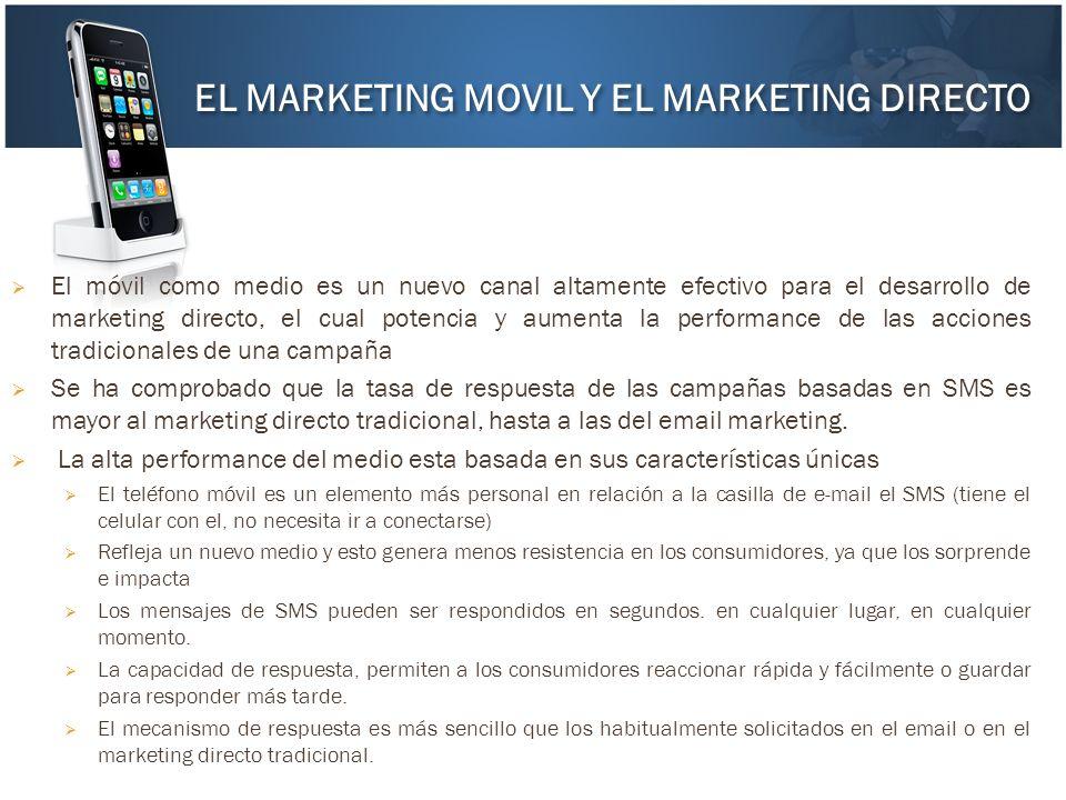 El móvil como medio es un nuevo canal altamente efectivo para el desarrollo de marketing directo, el cual potencia y aumenta la performance de las acc
