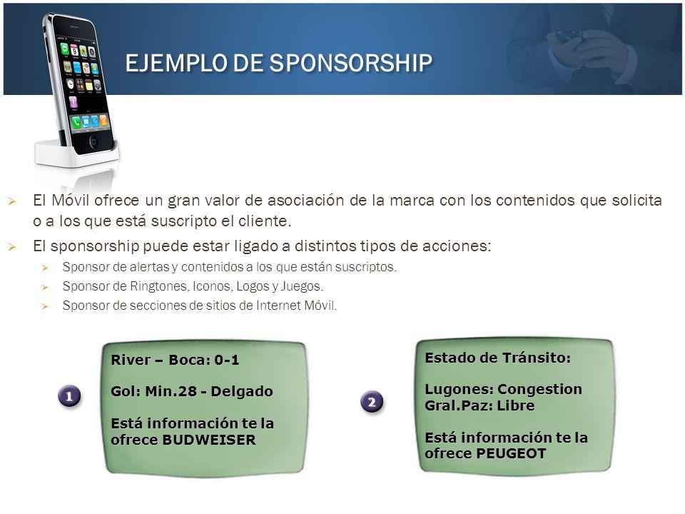 El Móvil ofrece un gran valor de asociación de la marca con los contenidos que solicita o a los que está suscripto el cliente. El sponsorship puede es