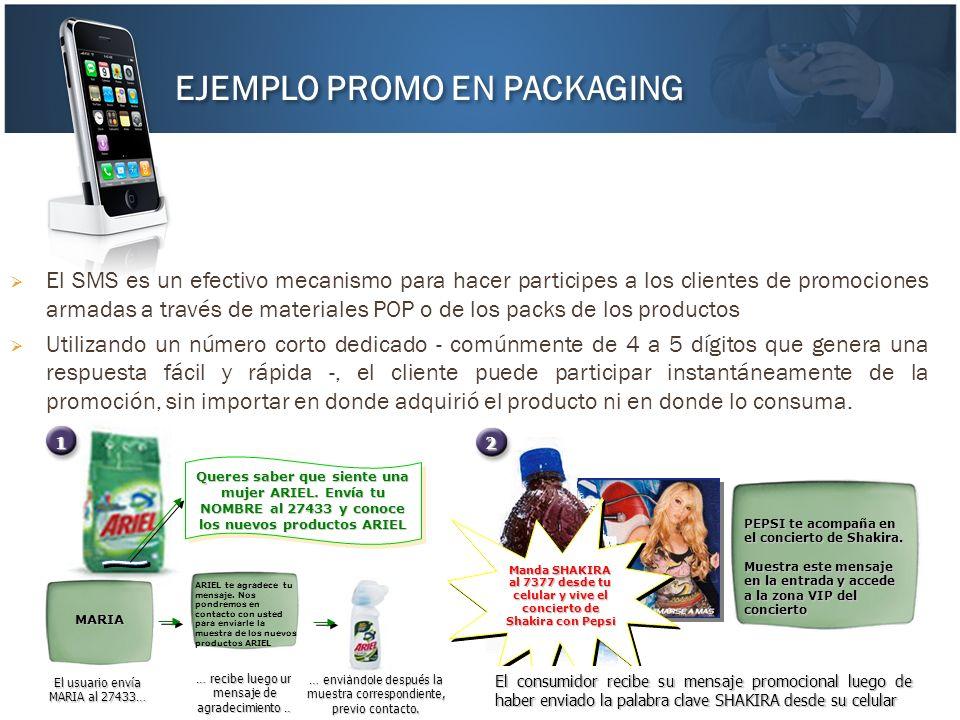 El SMS es un efectivo mecanismo para hacer participes a los clientes de promociones armadas a través de materiales POP o de los packs de los productos