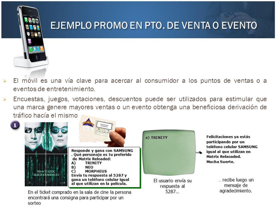 El móvil es una vía clave para acercar al consumidor a los puntos de ventas o a eventos de entretenimiento. Encuestas, juegos, votaciones, descuentos