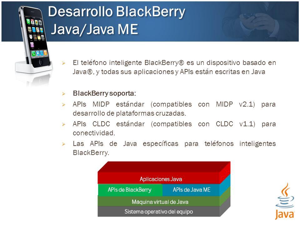 El teléfono inteligente BlackBerry® es un dispositivo basado en Java®, y todas sus aplicaciones y APIs están escritas en Java BlackBerry soporta: APIs MIDP estándar (compatibles con MIDP v2.1) para desarrollo de plataformas cruzadas.