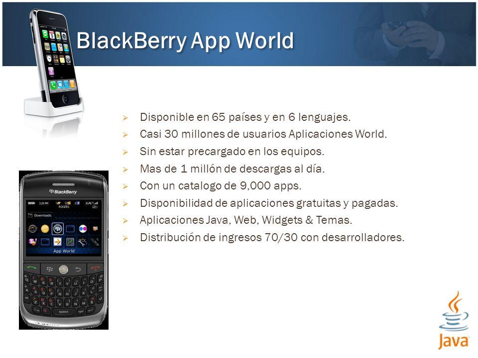 Disponible en 65 países y en 6 lenguajes. Casi 30 millones de usuarios Aplicaciones World.