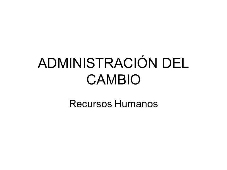 ADMINISTRACIÓN DEL CAMBIO Recursos Humanos