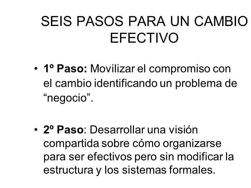 SEIS PASOS PARA UN CAMBIO EFECTIVO 1º Paso: Movilizar el compromiso con el cambio identificando un problema de negocio. 2º Paso: Desarrollar una visió