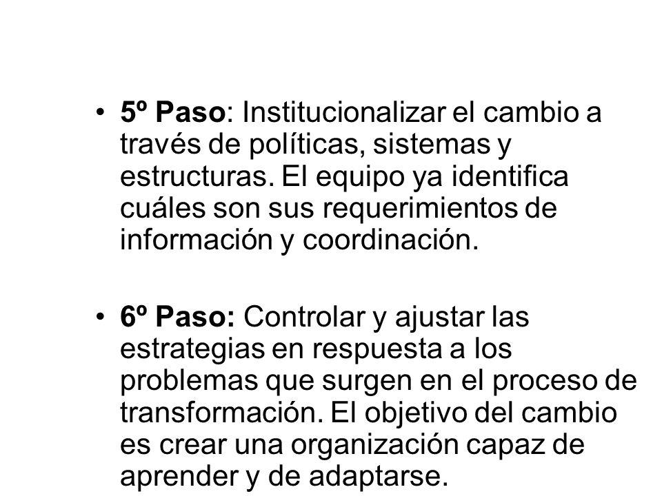 5º Paso: Institucionalizar el cambio a través de políticas, sistemas y estructuras. El equipo ya identifica cuáles son sus requerimientos de informaci